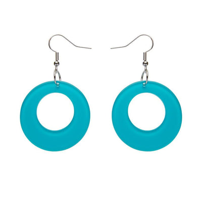 Circle Bubble Resin Drop Earrings -Teal