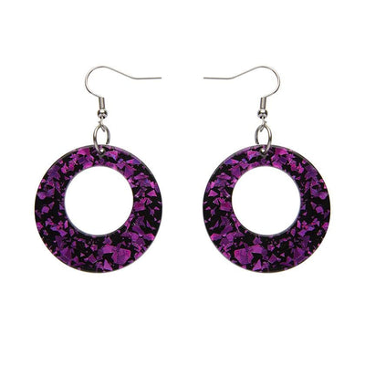 Circle Chunky Glitter Drop Earrings - Fuchsia