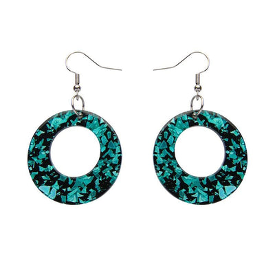 Circle Chunky Glitter Resin Drop Earrings -Mint