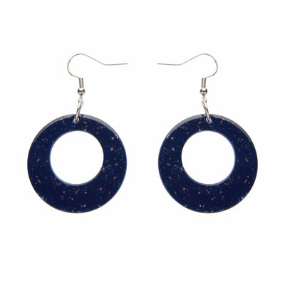 Circle Solid Glitter Resin Drop Earrings -Dark Blue
