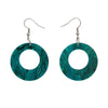 Circle Ripple Glitter Resin Drop Earrings -Emerald