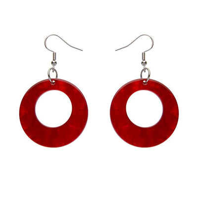 Circle Ripple Resin Drop Earrings -Red