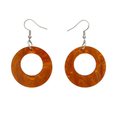 Circle Ripple Resin Drop Earrings -Gold