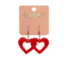 Heart Bubble Resin Drop Earrings - Red