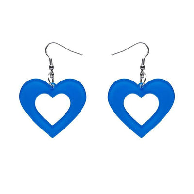 Heart Bubble Resin Drop Earrings - Blue