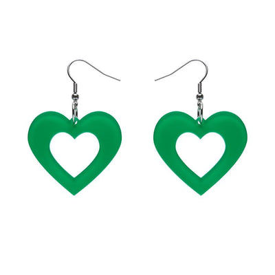 Heart Bubble Resin Drop Earrings - Green