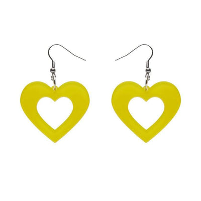 Heart Bubble Resin Drop Earrings - Yellow