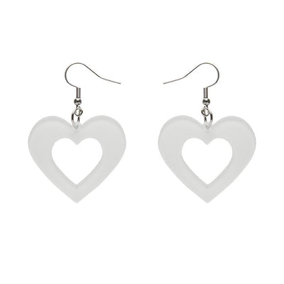Heart Bubble Resin Drop Earrings - White