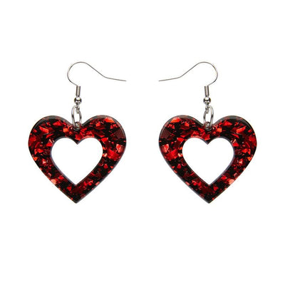 Heart Chunky Glitter Resin Drop Earrings - Red