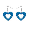 Heart Textured Resin Drop Earrings - Blue