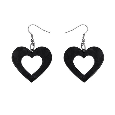 Heart Textured Resin Drop Earrings - Black