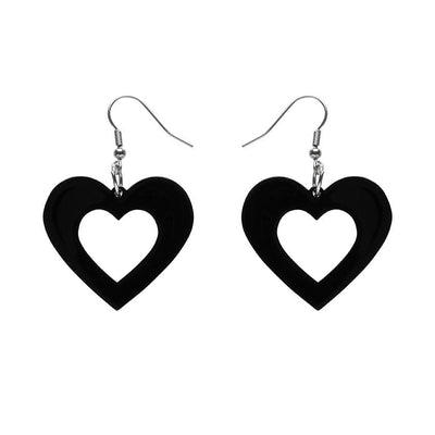 Heart Solid Resin Drop Earrings - Black