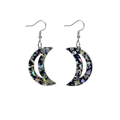 Crescent Moon Chunky Glitter Resin Drop Earrings - Holographic Silver