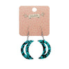 Crescent Moon Chunky Glitter Resin Drop Earrings - Teal