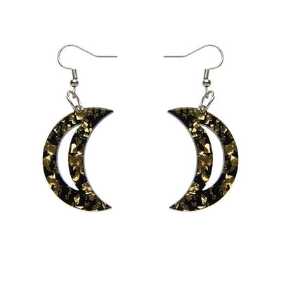 Crescent Moon Chunky Glitter Resin Drop Earrings - Gold