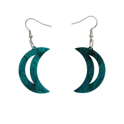 Crescent Moon Ripple Glitter Resin Drop Earrings - Emerald