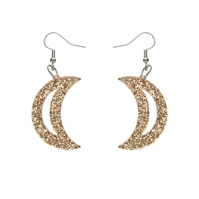 Crescent Moon Glitter Resin Drop Earrings - Gold