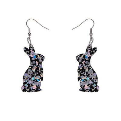Bunny Chunky Glitter Resin Drop Earrings - Holographic Silver