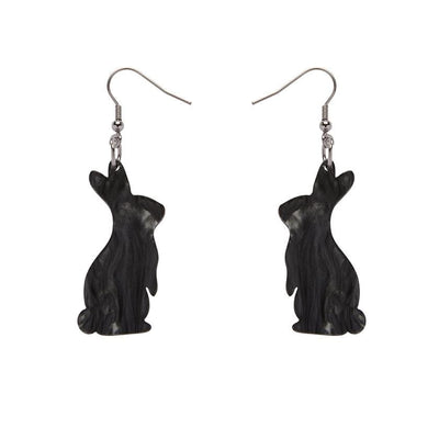 Bunny Textured Resin Drop Earrings - Black
