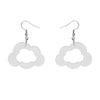 Cloud Glitter Resin Drop Earrings - White