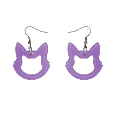 Cat Head Bubble Resin Drop Earrings - Purple