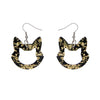 Cat Head Chunky Glitter Resin Drop Earrings - Yellow