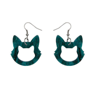 Cat Head Ripple Glitter Resin Drop Earrings - Green