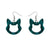 Erstwilder Essentials Cat Head Ripple Glitter Resin Drop Earrings - Green EE1011-RG4000
