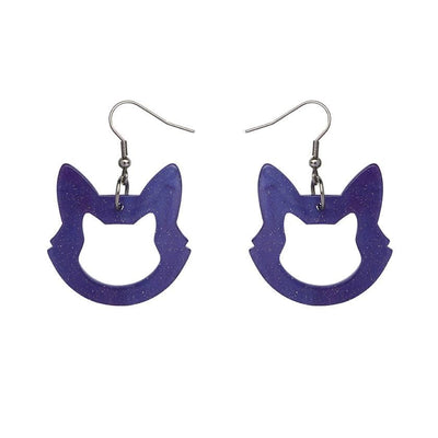 Erstwilder Essentials Cat Head Ripple Glitter Resin Drop Earrings - Purple EE1011-RG5000