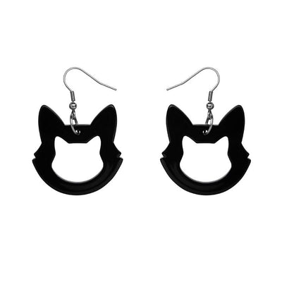 Cat Head Solid Resin Drop Earrings - Black