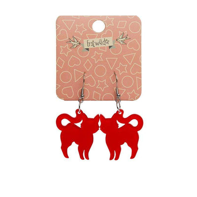 Erstwilder Essentials Pussy Cat Bubble Resin Drop Earrings - Red EE1012-BU1000