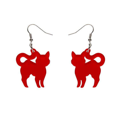 Pussy Cat Bubble Resin Drop Earrings - Red