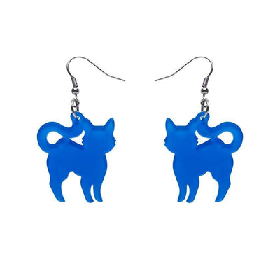 Pussy Cat Bubble Resin Drop Earrings - Blue