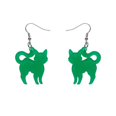 Pussy Cat Bubble Resin Drop Earrings - Green
