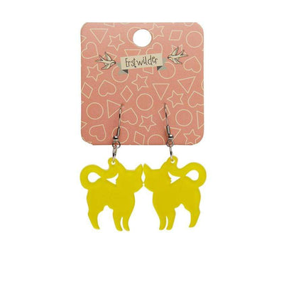 Erstwilder Essentials Pussy Cat Bubble Resin Drop Earrings - Yellow EE1012-BU6000