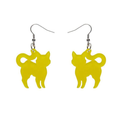 Pussy Cat Bubble Resin Drop Earrings - Yellow