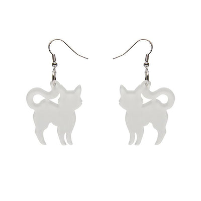 Pussy Cat Bubble Resin Drop Earrings - White