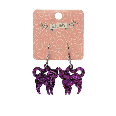 Cat Chunky Glitter Resin Drop Earrings - Purple