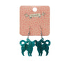 Cat Ripple Glitter Resin Drop Earrings - Green