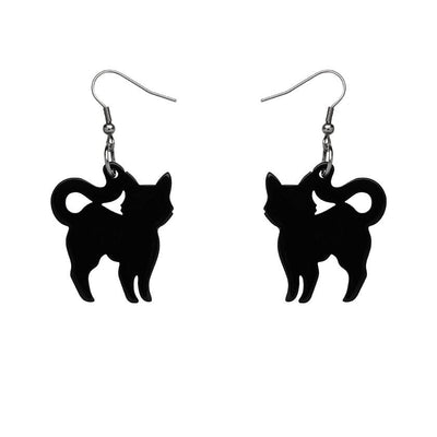 Pussy Cat Solid Resin Drop Earrings - Black