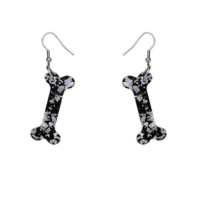 Bones Chunky Glitter Resin Drop Earrings - Silver