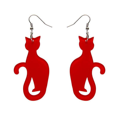 Sitting Cat Bubble Resin Drop Earrings - Red