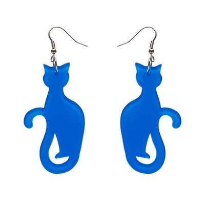Sitting Cat Bubble Resin Drop Earrings - Blue