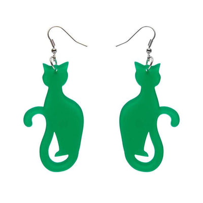 Sitting Cat Bubble Resin Drop Earrings - Green