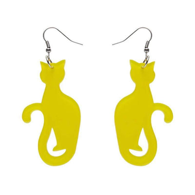 Sitting Cat Bubble Resin Drop Earrings - Yellow