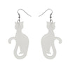 Erstwilder Essentials Sitting Cat Bubble Resin Drop Earrings - White EE1017-BU8000