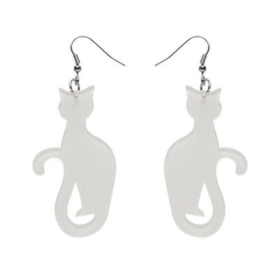 Sitting Cat Bubble Resin Drop Earrings - White