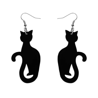 Sitting Cat Solid Resin Drop Earrings - Black