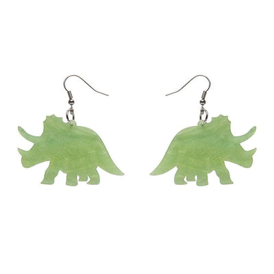Erstwilder Essentials Triceratops Ripple Glitter Resin Drop Earrings - Lime EE1019-RG4200