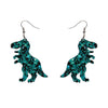 Erstwilder Essentials Tyrannosaurus Chunky Glitter Resin Drop Earrings - Teal EE1020-CG4400